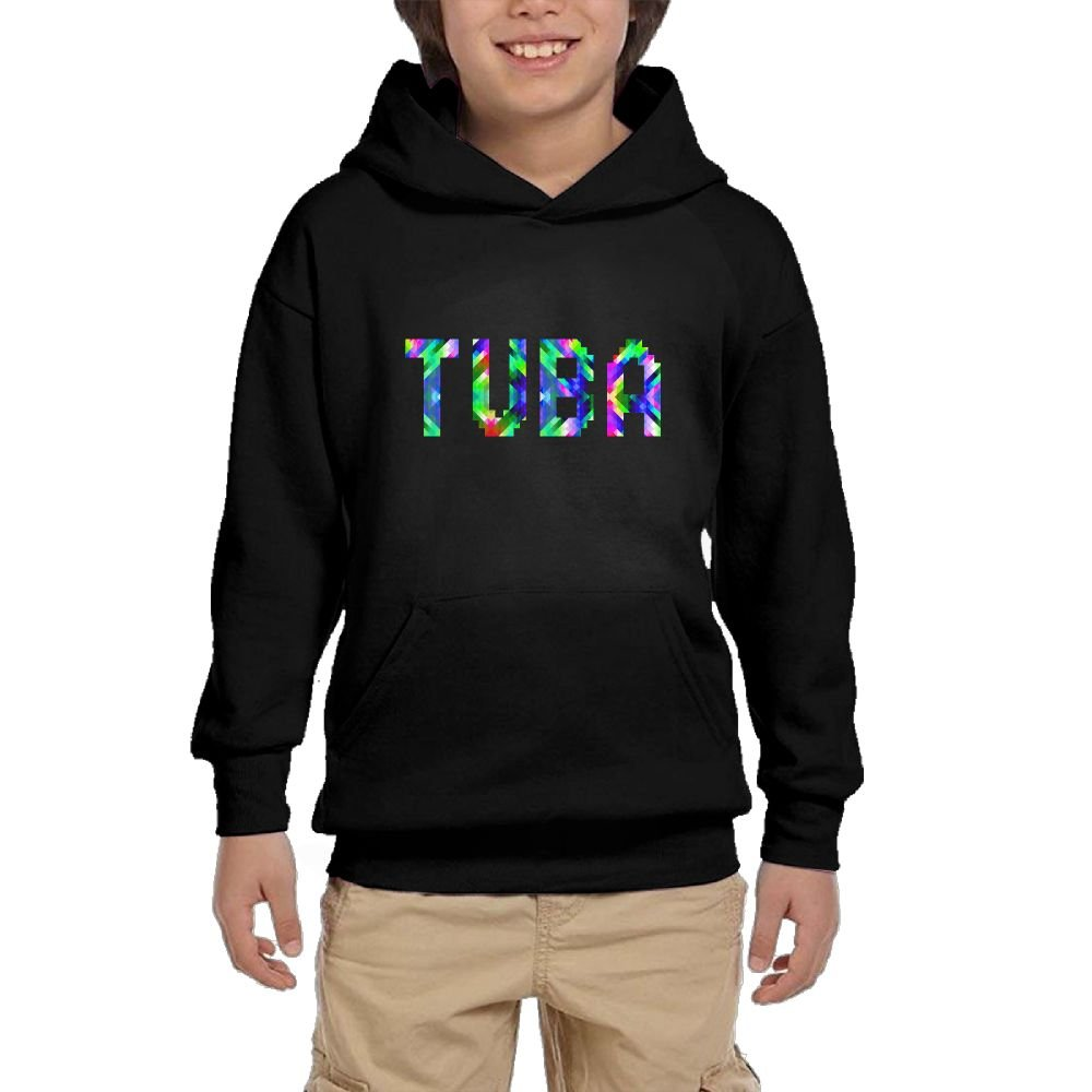 Youth Black Hoodie Tuba Color Blocks Hoody Pullover Sweatshirt Pocket Pullover For Girls Boys XL by Hapli