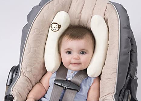 Baby Travel Pillow for Stroller or Bed,2 in 1 Pushchair Strollers Soft Head Neck Support Adjustable Baby Travel Neck Pillow for 3 Months to 1 Years Baby Grey 1