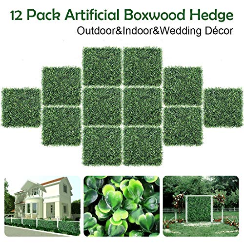 "IBUTY 12PCS Artificial Boxwood Panels Topiary Hedge Plants Artificial Greenery Fence Panels for Greenery Walls,Garden,Privacy Screen,Backyard and Home Decor 20"" X 20"" from DEWVIE"