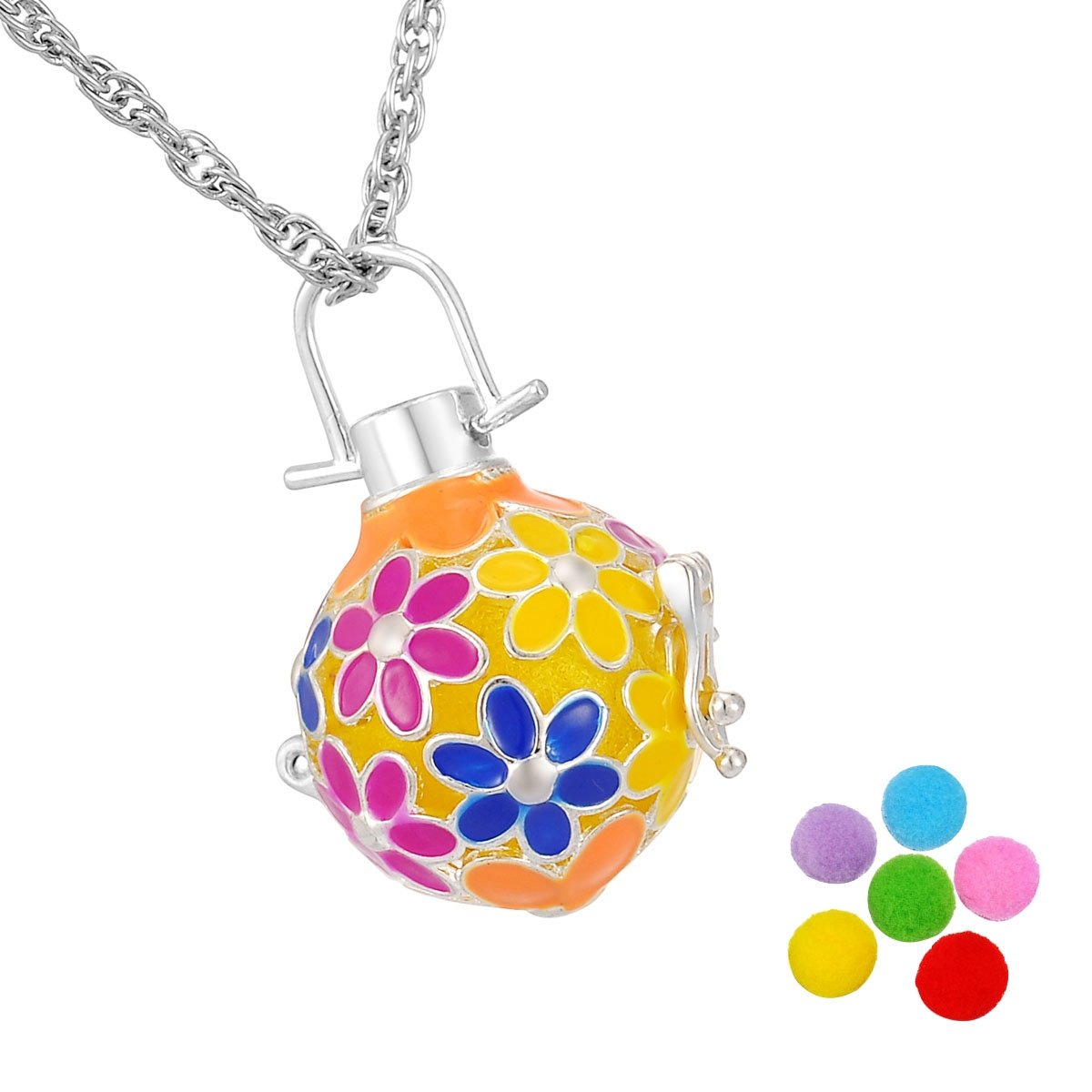 HooAMI Flower Essential Oils Aromatherapy Diffuser Locket Necklace