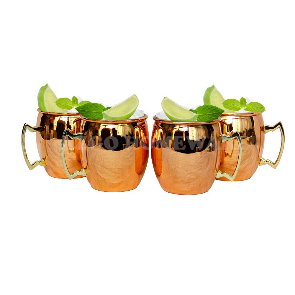 CHEFHUB Moscow Mule Copper Mugs Set Of 4-18 ounce Capacity Drinking Cups For Cocktails & Cold Beverages -Stainless Steel Lining
