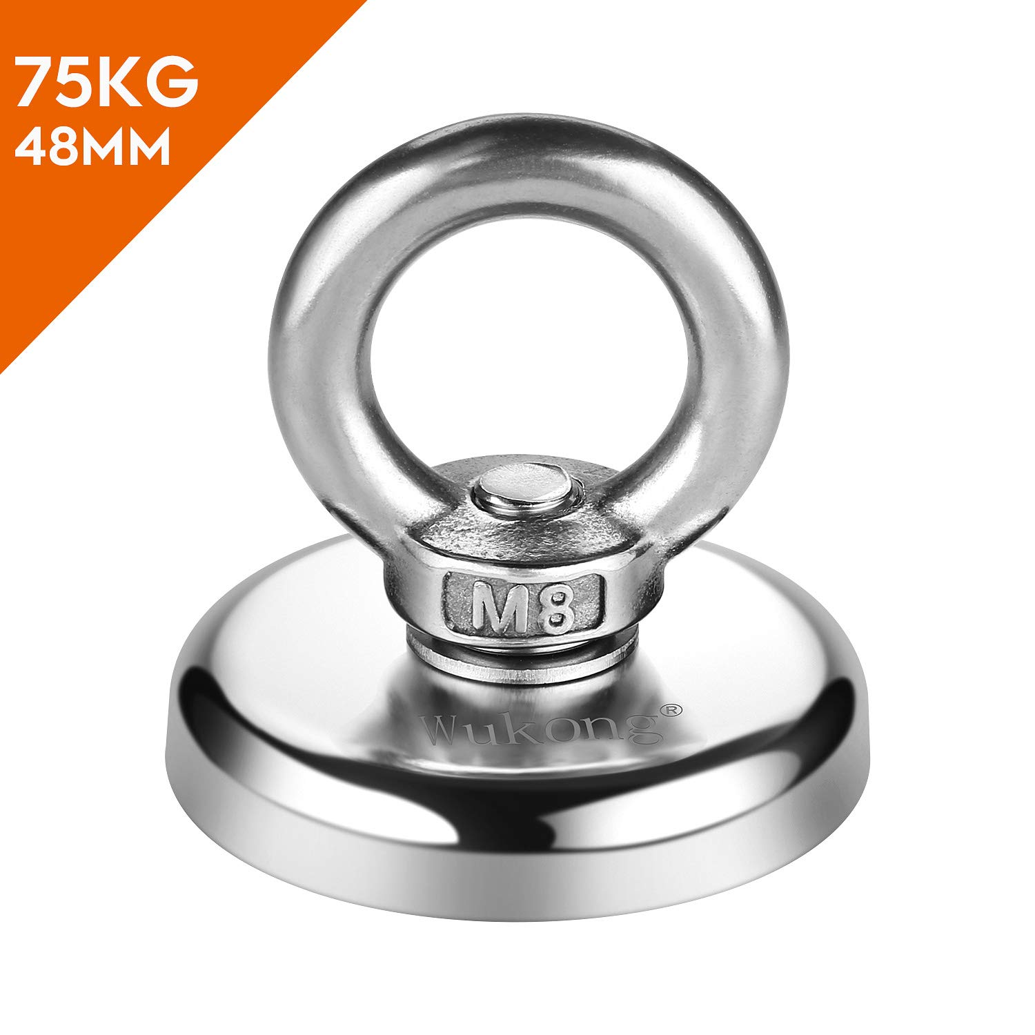 N52 Magnetic Grade for Magnet Fishing and Salvage in River 48mm Diameter Super Powerful Big Round Neodymium Magnet Pulling Force Fishing Magnets 75KG Wukong 165LB