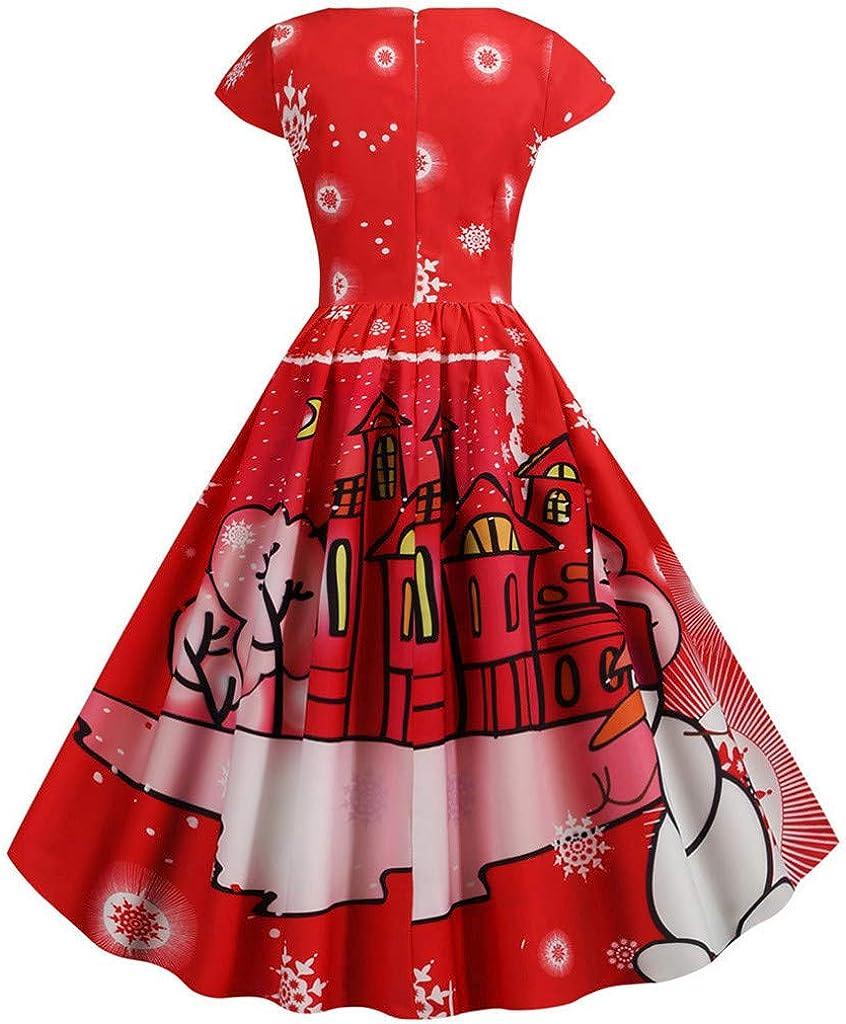 Women Vintage Cocktail Party Dress 1950s Retro Dresses Print Patchwork A-line Christmas Dress