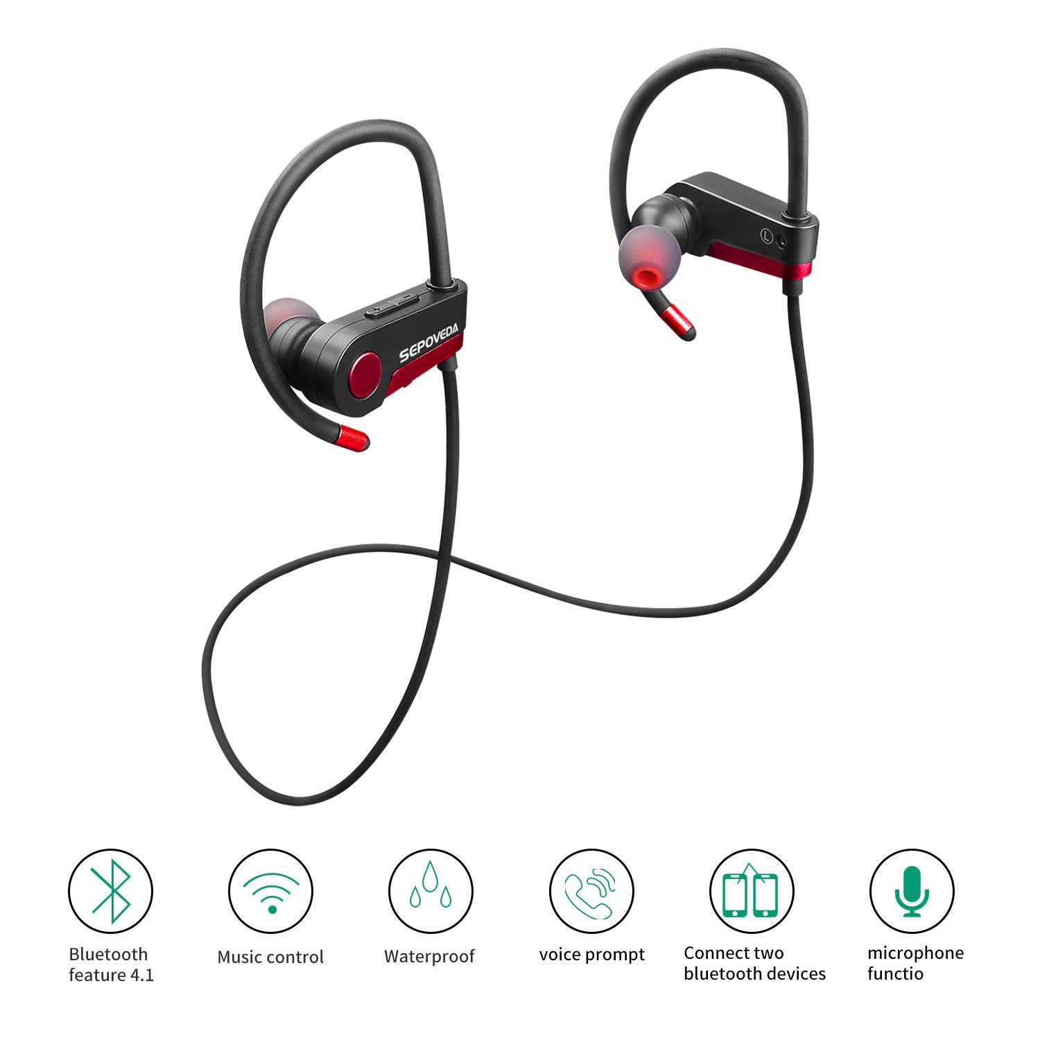 Sepoveda Bluetooth Headphones Wireless Earbuds with Mic| Sweat Proof Headphones, Noise Cancelling Tech, Crisp Sounds, HD Stereo Bass & Secure Fit