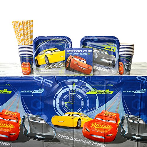 Disney Cars Party Supplies (Cars Party Supplies Pack for 16 Guests - Straws, Dessert Plates, Beverage Napkins, Cups, and Table)