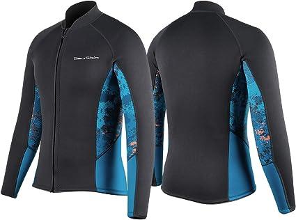 2mm Zip Wetsuit Jacket Long Sleeve for Canoeing Sea Kayaking Snorkeling Diving Water Aerobics Womens Wetsuit Top