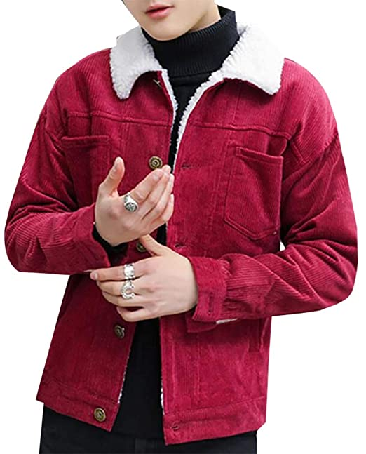 bf14362d1c3 cfzsyyw Men s Vintage Long Sleeve Button-Front Slim Fit Corduroy Denim  Jacket Wine Red S  Amazon.in  Clothing   Accessories