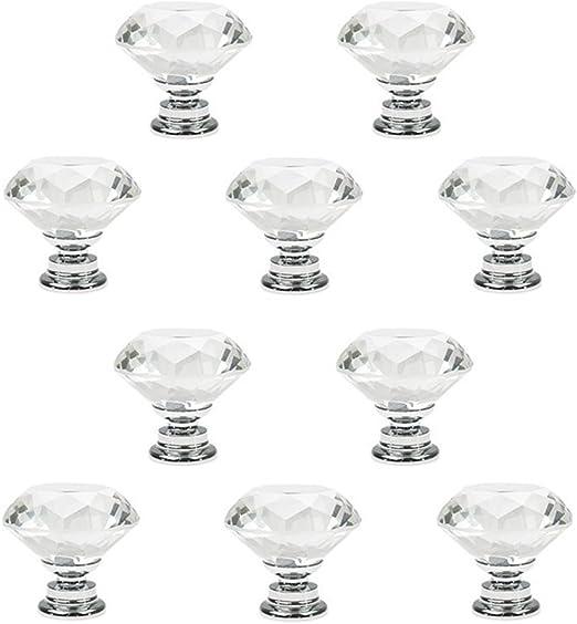 Brand New 10pcs Clear 30mm Diamond Crystal Glass Pull Handle  Fine
