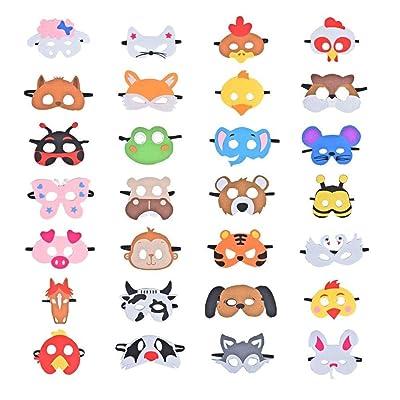 28 Piezas Fiesta Máscaras para Niños, Fieltro Máscaras para Animal Cosplay Fiesta Ojo Máscaras con Cuerda Elástica para Niños Fiesta Mascarada Decoración: Juguetes y juegos