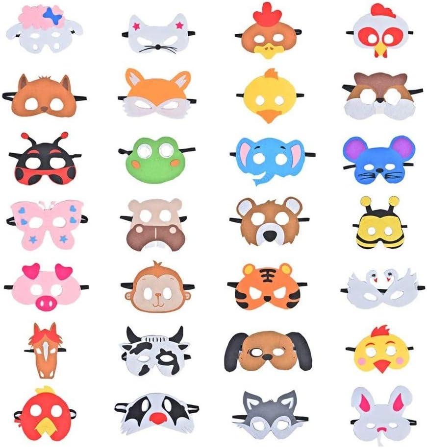 28 Piezas Fiesta Máscaras para Niños, Fieltro Máscaras para Animal ...