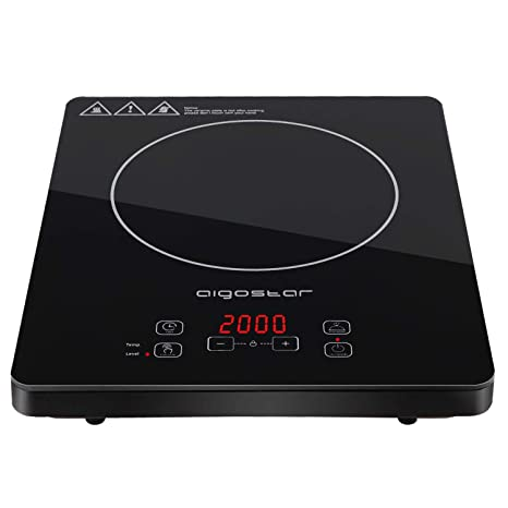 Aigostar Blackfire 30IAV - Placa inducción portátil multifunción con 2000 Watios de potencia, controles táctiles, 10 niveles de potencia, función ...