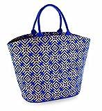 Mud Pie Women's Fashion Metallic Shimmer Juco Jute Tote Bag (Blue-8613105BL)