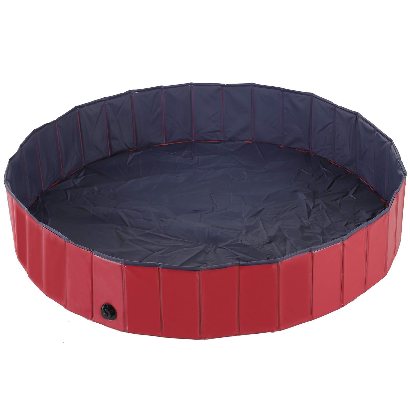 PawHut Pet Swimming Pool Dog Bathing Tub 12'' x 63'' All-Purpose Collapsible PVC Red / Dark Blue