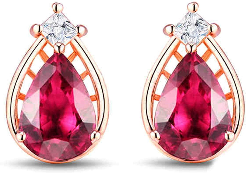 Aimsie Pendientes de oro rosa de 1,24 ct, turmalina rosa con diamantes pendientes oro blanco de 18 quilates Au750 oro rojo pendientes pendientes pendientes