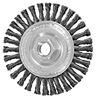 "PFERD 82186 Power Knot Wheel Brush with Stringer Bead Twist, Threaded Hole, Carbon Steel Bristles, 4"" Diameter, 0.020"" Wire Size, 5/8""-11 Thread, 20000 Maximum RPM, 32 Knots"