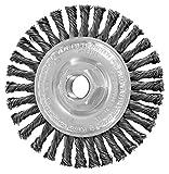 PFERD 82186 Power Knot Wheel Brush with Stringer Bead Twist, Threaded Hole, Carbon Steel Bristles, 4'' Diameter, 0.020'' Wire Size, 5/8''-11 Thread, 20000 Maximum RPM, 32 Knots