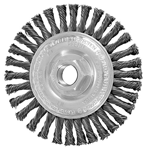 PFERD 82186 Power Knot Wheel Brush with Stringer Bead Twist, Threaded Hole, Carbon Steel Bristles, 4