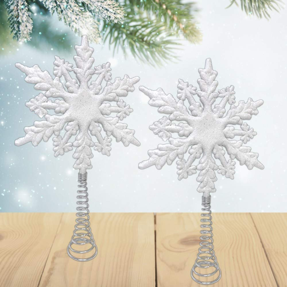Festive Winter White Decor Holiday Decorations BANBERRY DESIGNS White Glitter Snowflake Tree Topper Set of Two Glittered Snow Flake Christmas Tree Tops