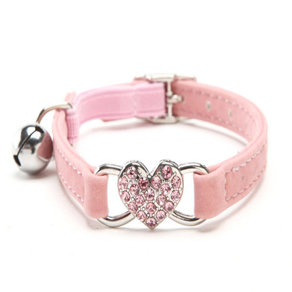 Wouke Dog Collars for Small Dogs Girl Heart Bling Cat Collar with Safety Belt and Bell Soft Velvet Puppy Necklace