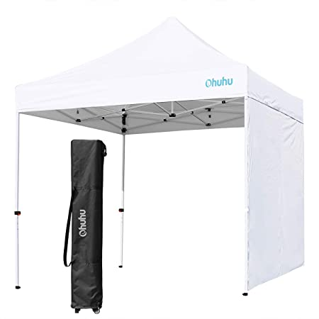 Ohuhu EZ Pop-Up Canopy Tent, 2019 Upgraded 10 X 10 FT Commercial Instant Shelter with Sidewall Sun-Shade Wall, 4 Adjustable Height Wheeled Carrying Bag, White