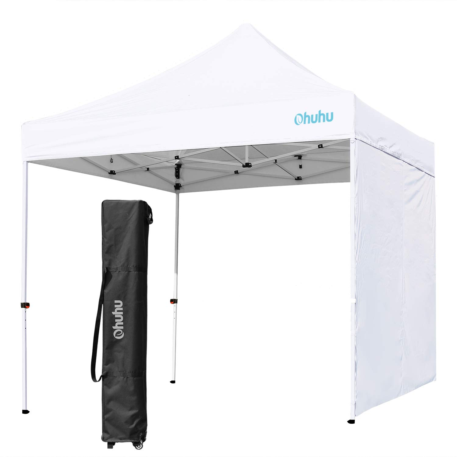 Ohuhu EZ Pop-Up Canopy Tent, 10 X 10 FT Commercial Instant Shelter with Sidewall Sun-Shade Wall, 4 Adjustable Height & Wheeled Carrying Bag, White