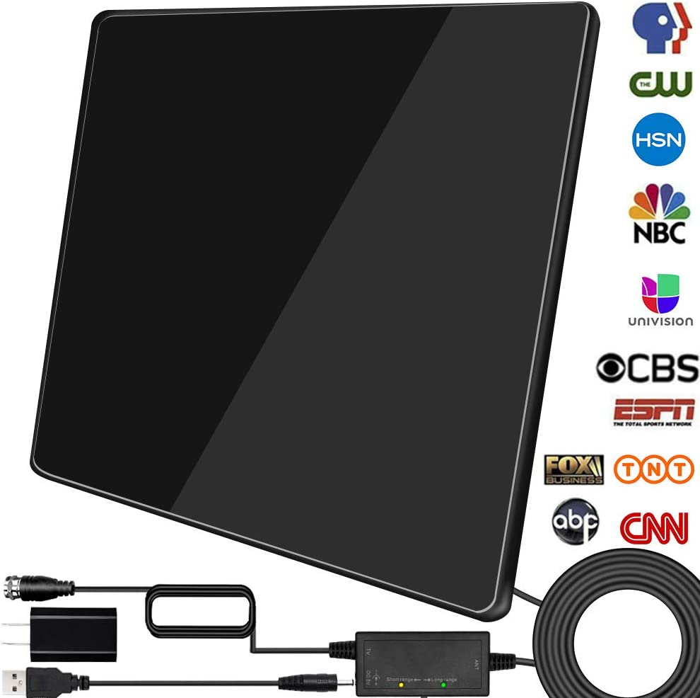 Newest 2020 Black HDTV Antenna,Indoor Digital TV Antenna Amplified 150 Miles Range Support 4K 1080P VHF UHF/&Older TVs Digital Antenna with Signal Booster,17ft Coax Cable//USB Power Adapter