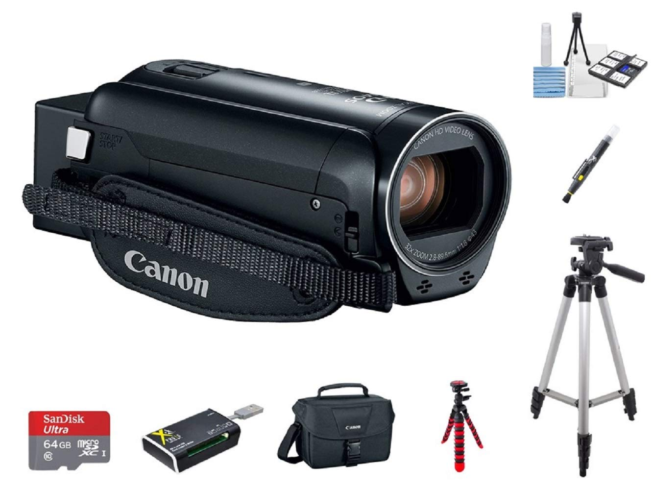 Canon VIXIA HF R82 A KIT + 2 Tripods + 64GB microSD Card + Camera Bag + Card Reader + 6PC Cleaning Kit + 2-in-1 Lens Cleaning Pen