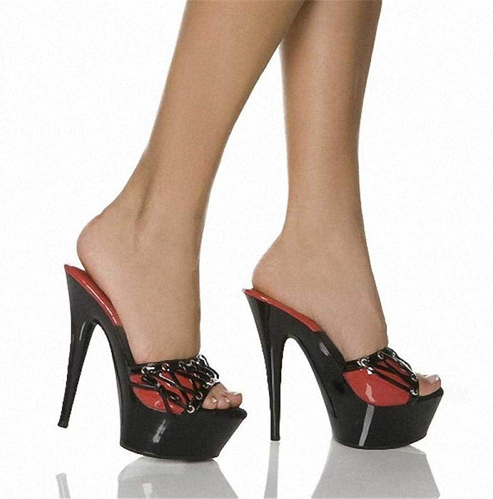 Sandales à Talons Hauts en Cuir Verni pour Femmes, Plate-Forme imperméable à l'eau Black