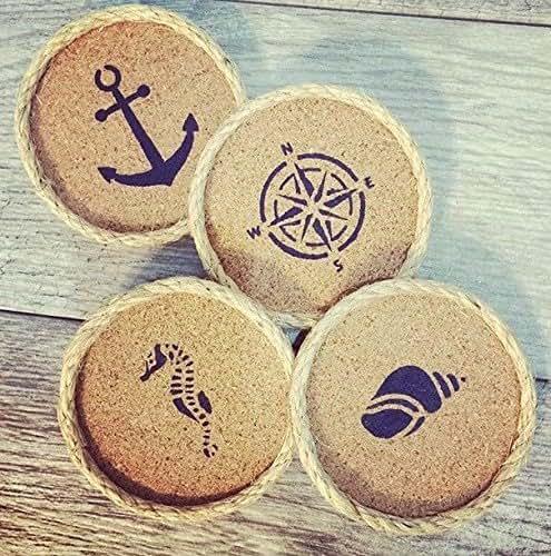 Beach decor drink coaster set of 4 handmade for Handmade drink coasters