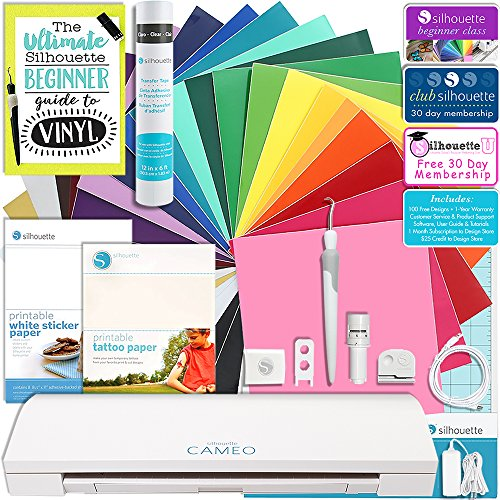 Silhouette CAMEO 3 Bluetooth Starter Bundle with 24-12x12 Inch Oracal 651 Sheets, Transfer Paper, Guide, Class, Tattoo Paper, Sticker Paper, and More by Silhouette America