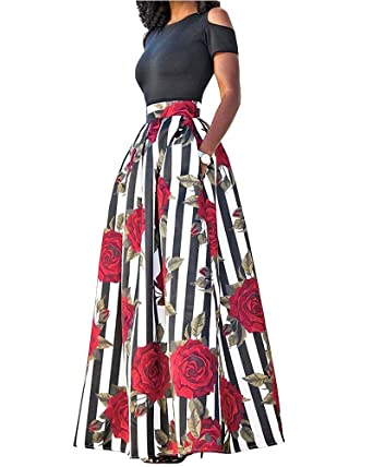 Ofenbuy Women's African Print Maxi Dress A-Line Tunic Floral Dress Suits