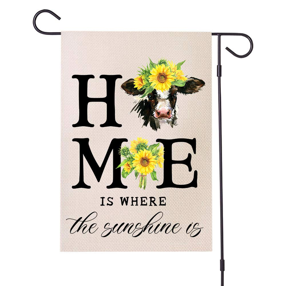 MFGNEH Home is Wherever The Sunshine is Farmhouse Decorations Garden Flag Vertical Double Sided Cow Sunflower Outdoor Decor Flag 12 x 18 Inch