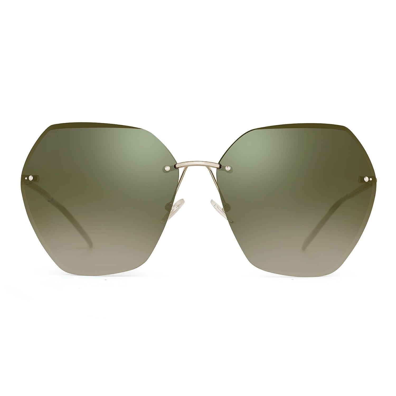 Jim Halo Gafas de Sol Sin Marco Gradiente Cuadrado Claro Anteojos Mujer