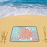 Honey Day House Custom Beach Mats Personalized Orange Grey Green Dahlia Floral Pattern 78''x 60'' Beach Mat