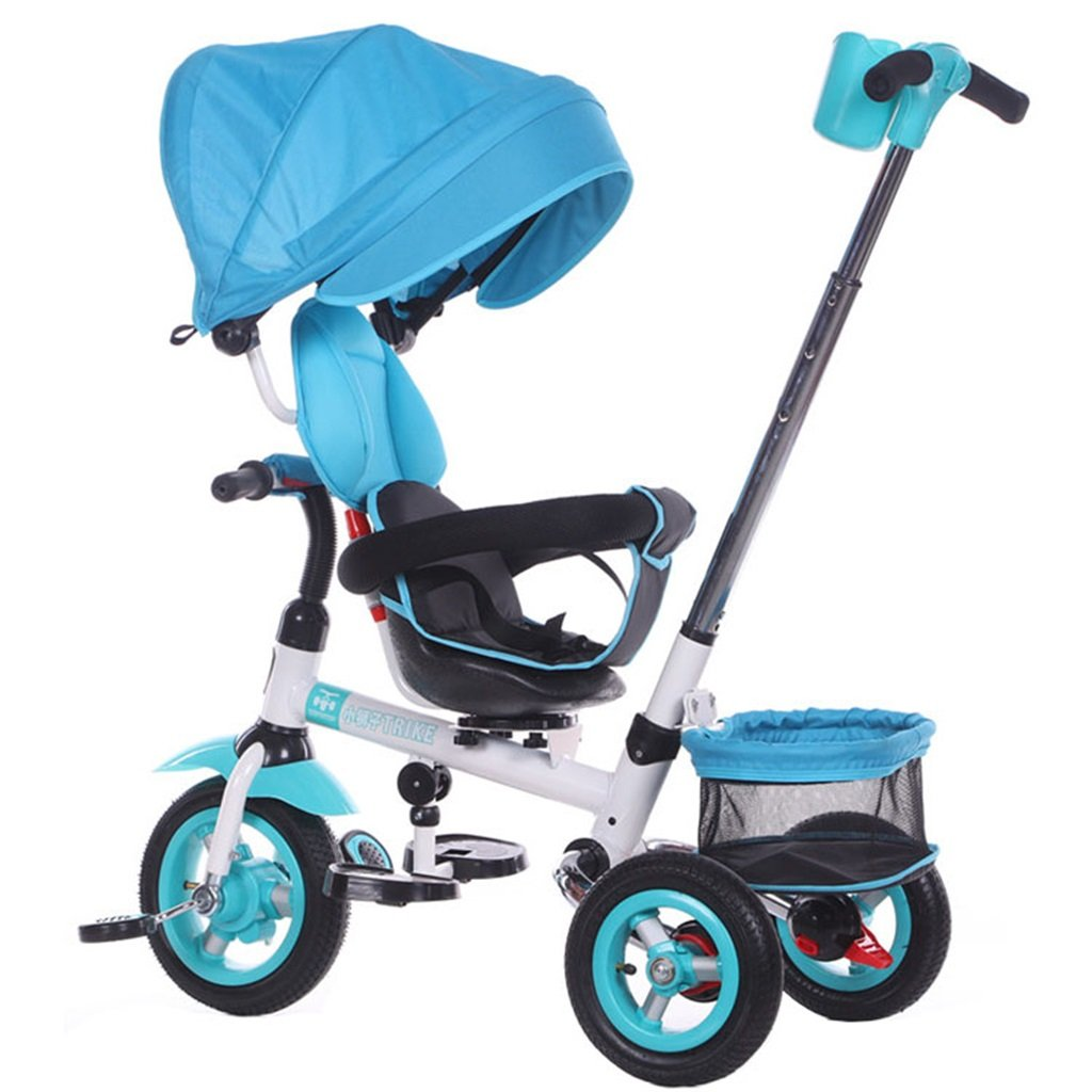 KANGR-子ども用自転車 多機能4-in-1折りたたみ式子供用三輪車キッドトロリープッシュハンドルステーラー自転車、アンチUV日よけ  1-3-6歳の少年少女と赤ちゃんのおもちゃ ロータリー席 インフレータブル(または非)ソリッドゴム3ホイール 青 ( 色 : B型 bがた ) B07BTWBMW4B型 bがた