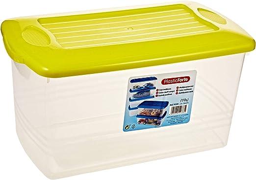 Caja Multiusos Plastico 10 L Grande Con Tapa De Color 375x210x185 Mm: Amazon.es: Hogar