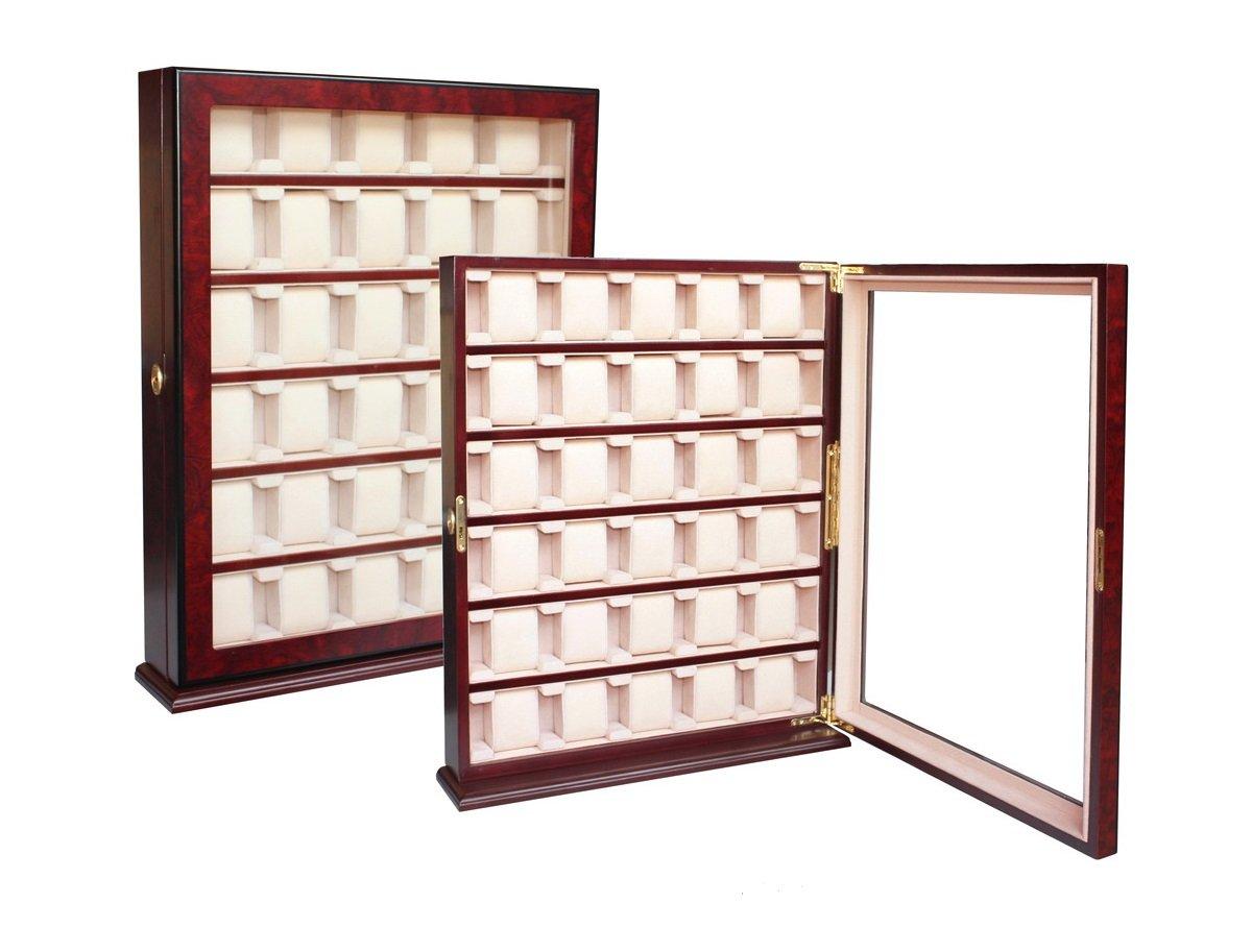 FrÜhlingsaktion 1 A QualitÄt Uhrenbox von Woolux fÜr 30 große Uhren aus Holz mit Sichtfenster aus Echtglas fÜr die