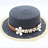 ALWLj New Woman Sun Hats British Style Flat Top Hand Made Straw Hat Female Fashion Leather Belt Casual Shade Summer Beach Cap