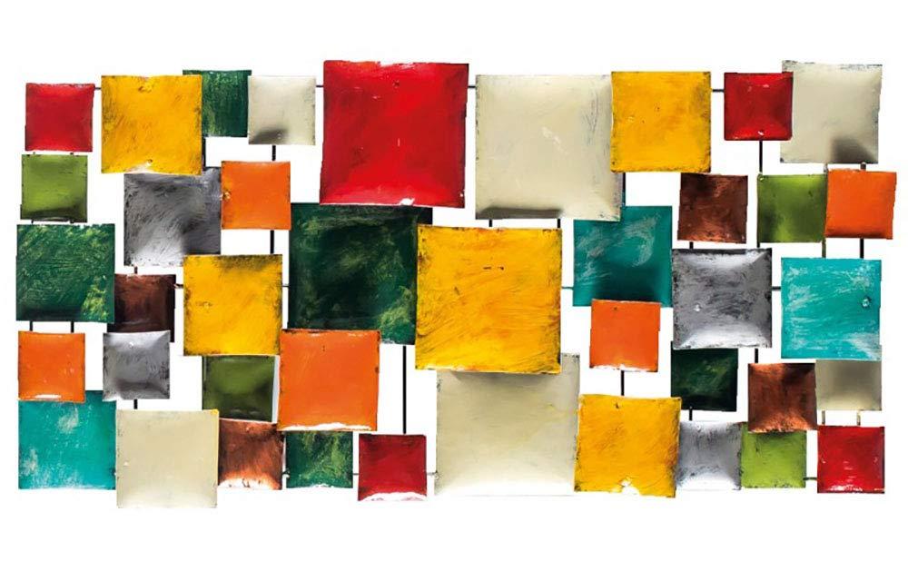 Meubletmoi Décoration Murale en métal Peint Multicolore rectangulaire - Objet décoratif Artisanal à Suspendre - Prisme 01