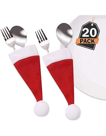 Kompanion Set di Custodie Portaposate da 20 Pezzi Cappello di Babbo Natale  per Decorazioni Natalizie Accessori 1e7d6105031a