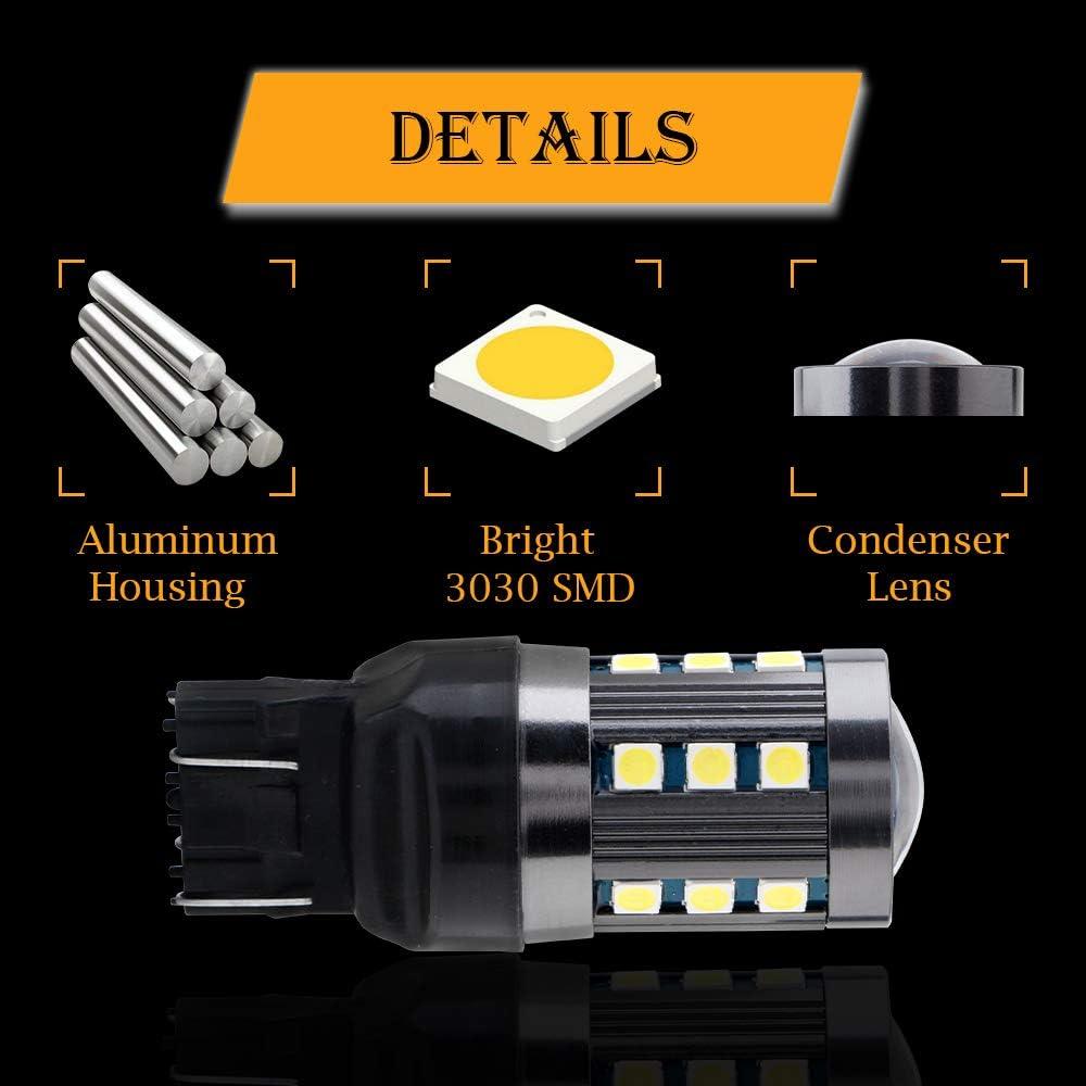 GLL 2pcs 7443 Ampoules /à LED Blanc T20 W21//5W Ampoules /à LED avec 3030-24SMD Utilis/é Pour Frein de Voiture Phare Arri/ère Feu de Recul Arri/ère Phares Antibrouillard 840LM 6500K DC 9-30V