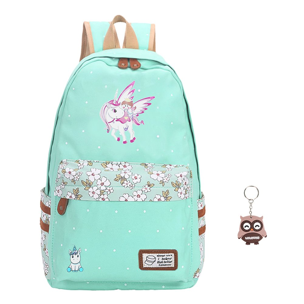 Teen Girls' Canvas School Bag Travel Unicorn Backpack College Bookbag Shoulder Casual Daypack for Boys Laptop Bag (blue sky)