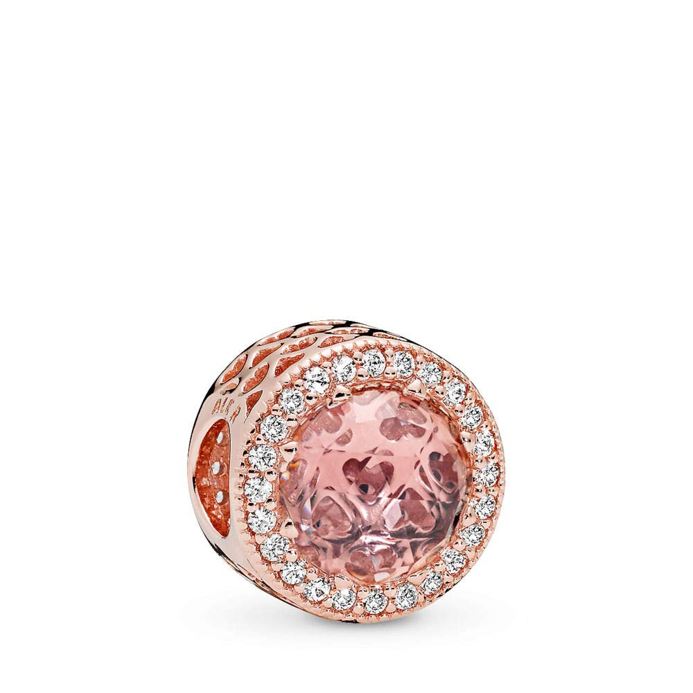 PANDORA Radiant Hearts Charm, PANDORA Rose, Blush Pink Crystal, Clear Cubic Zirconia, One Size by PANDORA