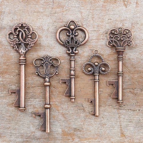 Ella Celebration 50 Key Bottle Openers, Assorted Vintage Skeleton Keys, Wedding Party Favors (50, Antique Copper) (Key Victorian)