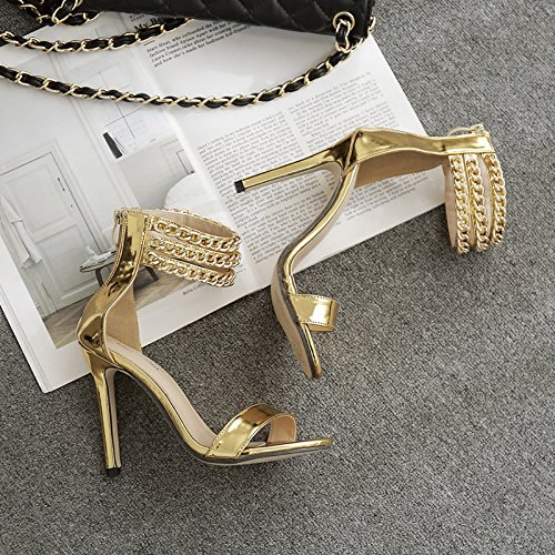 cadena Silver tacón tacón de La metal alto de zapatos mujer de sandalias ZHZNVX de P7wYAqOcw