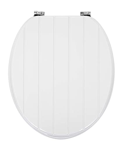 Aqualona Tongue And Groove Seat Wooden Design Is Lightweight And Strong Fits Standard Elongated Toilets White 45x 36 X 5 Cm
