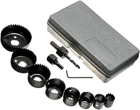 11X Carbon Steel Hole Saw Kit Cutting Drilling Tools Set Wood Metal Cutter Box