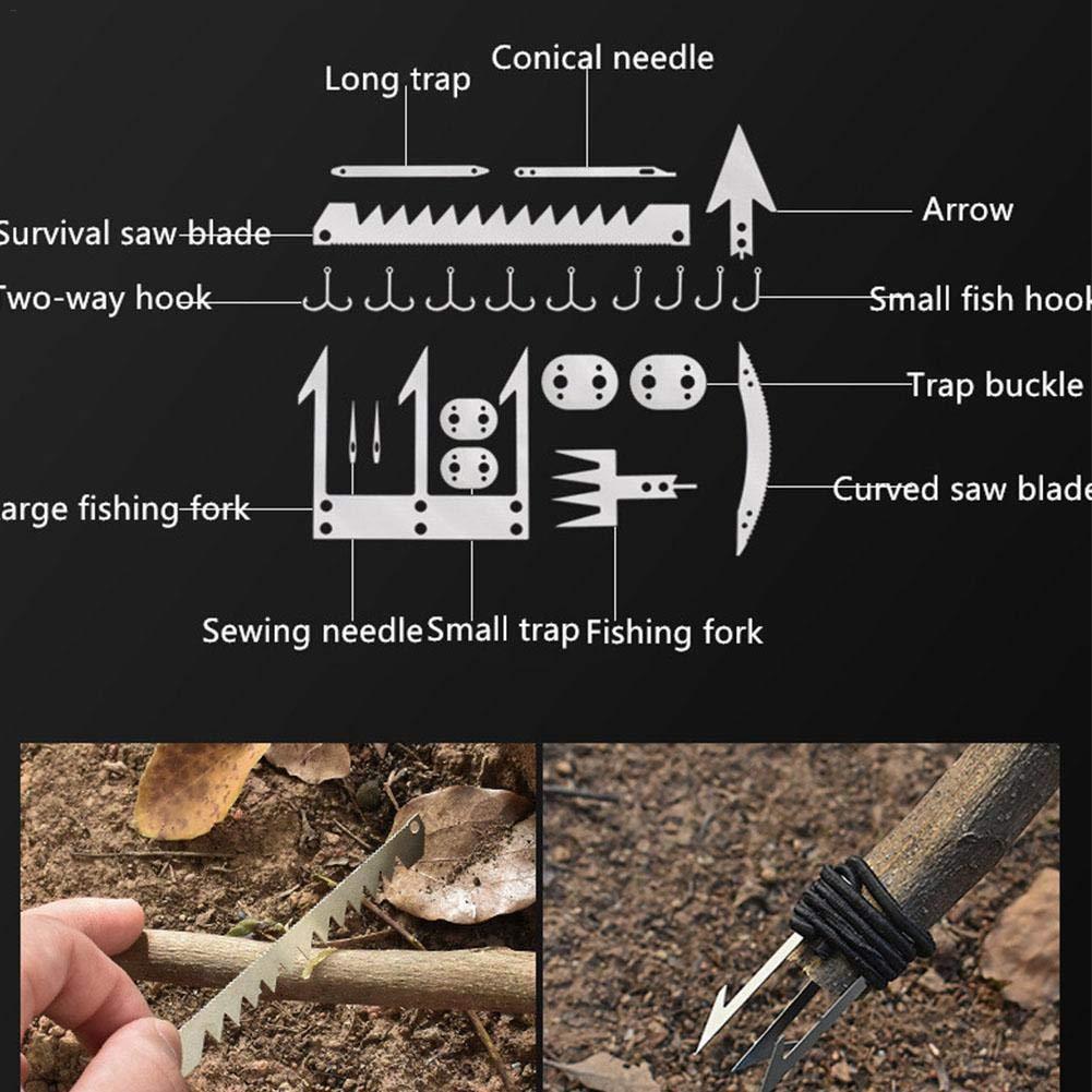 duhe189014 Survival Multi Tool Card Camping Wilderness Survival Card Kit De Emergencia para Pesca Camping