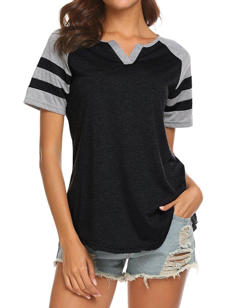 Locryz Ladies Retro Raglan V-Neck Baseball T-Shirts Casual Loose Blouse Tops XXL Black