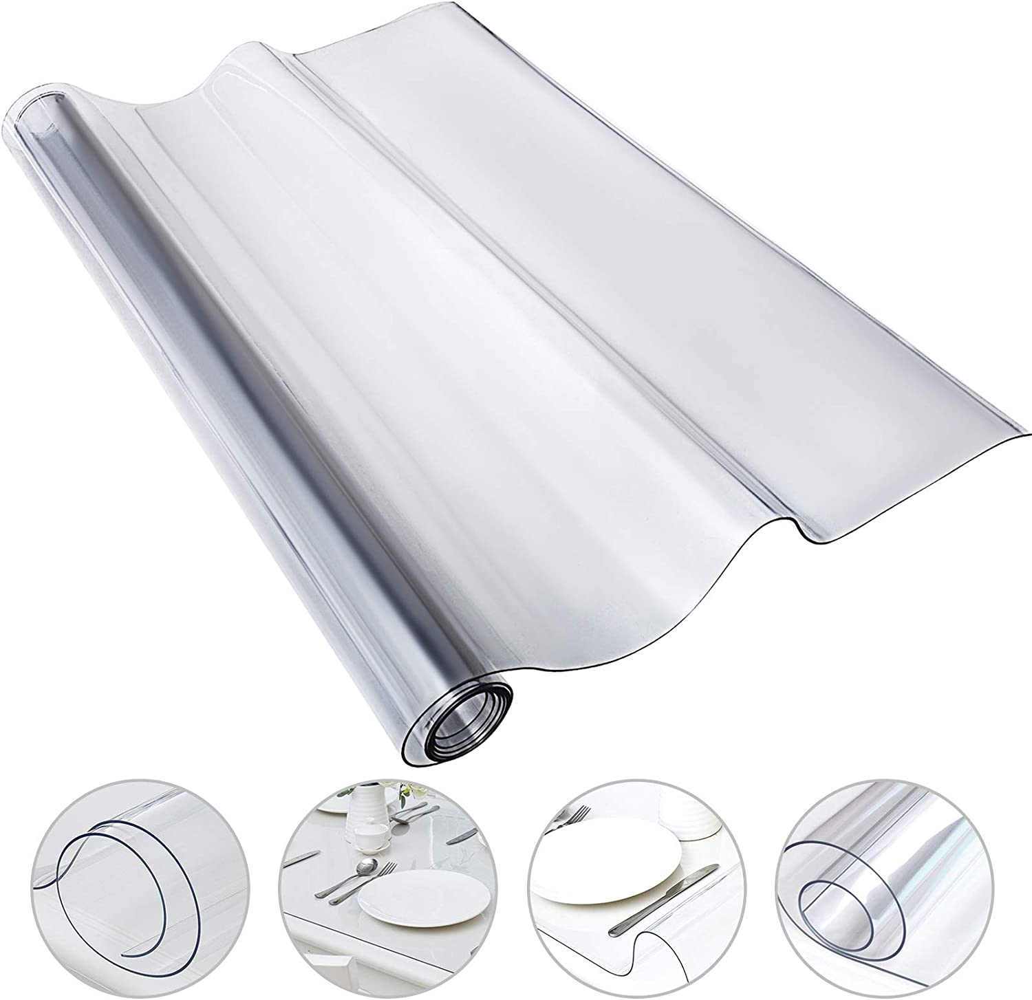 Mophorn 90 x 44 Inch Crystal Clear Table Protector Clear PVC Table Top Protector 1.5mm Thick Table Cover Rectangular Table Pads for Dining Room